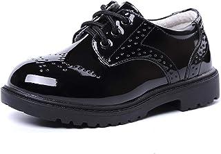 WUIWUIYU - Zapatos de ciudad con cordones para niños y niñas, Negro (Negro ), 26 EU