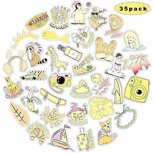 Sunshine Glimlach Waterdichte Esthetische Graffiti Stickers, Bumper Trendy Stickers Decals, koffersticker, Fiets Skateboard Vinyl Graffiti Sticker, Laptop en Water Bottle Decals Sticker 35 pcs-yellow