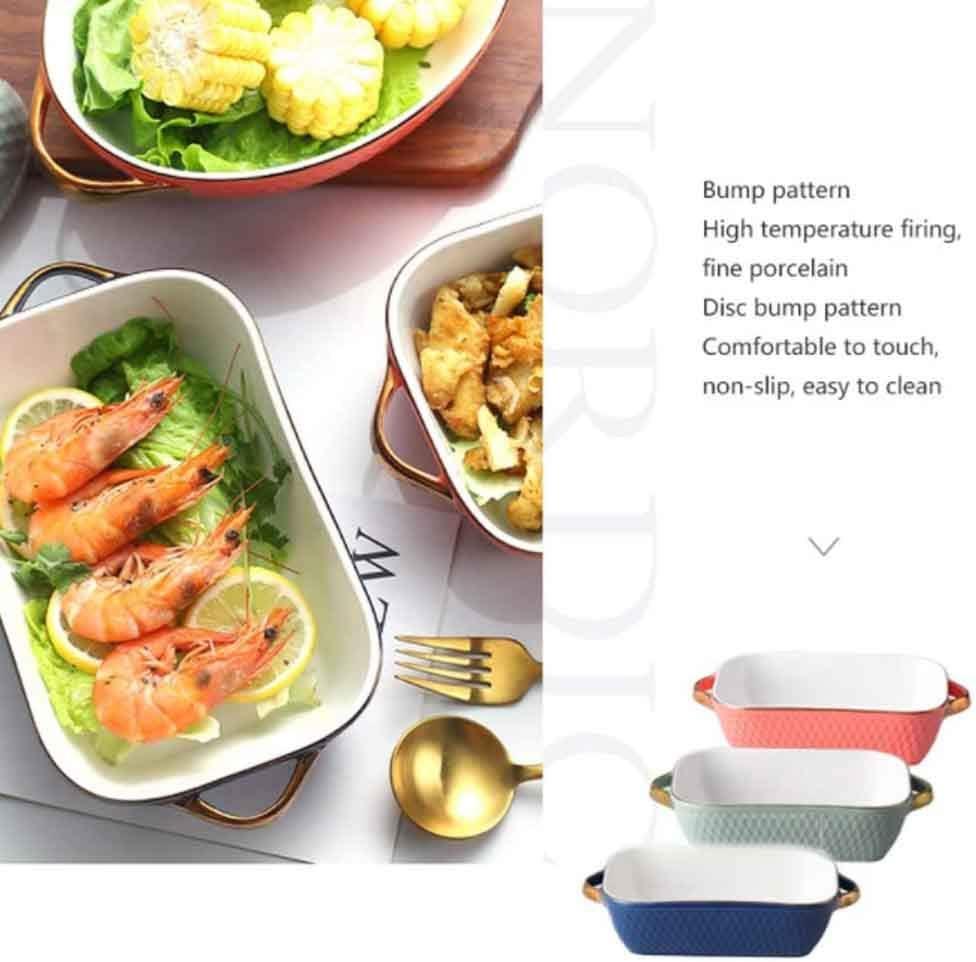 QZF Céramique Plaque rectangulaire Pan, Plaque en céramique Pan avec poignée Lasagne Casserole Plate Pan Pan indépendant 20 X 13,5 X 5,5 cm Bleu/Orange/Vert,Bleu Cyan