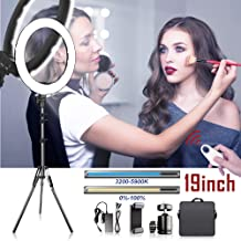 Ring Light, Travor Upgrade 19inch Outer 60W Dimmable 512PCS LED Ring Light with Stand Adjustable Color Temperature 3200K-5900K for Phone Camera YouTube Makeup Video Shooting, Portrait, Vlog, Selfie