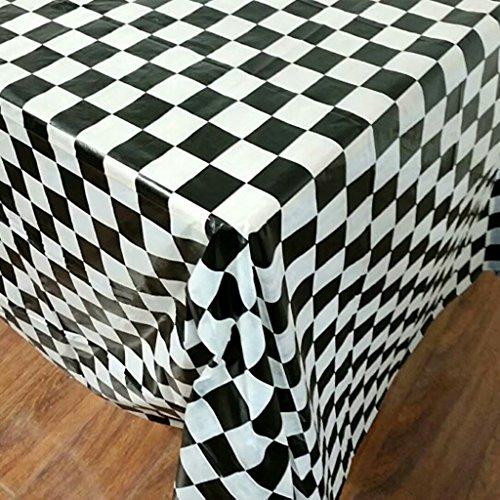 GROOMY Rectángulo de Mantel desechable Cubierta de Mesa de impresión a Cuadros de plástico Camping al Aire Libre - Negro + Blanco