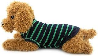 Ranphy 猫 ネコ ねこ 洋服 春夏 タンクトップ ストライプ Tシャツ ノースリーブ 犬の服、小型犬、チワワ ドッグウェア グリーン XL