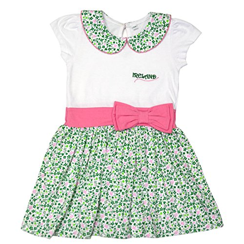 Traditional Craft White Shamrock Pink Bow Ireland Kids Girls Dress (1-2 Years)