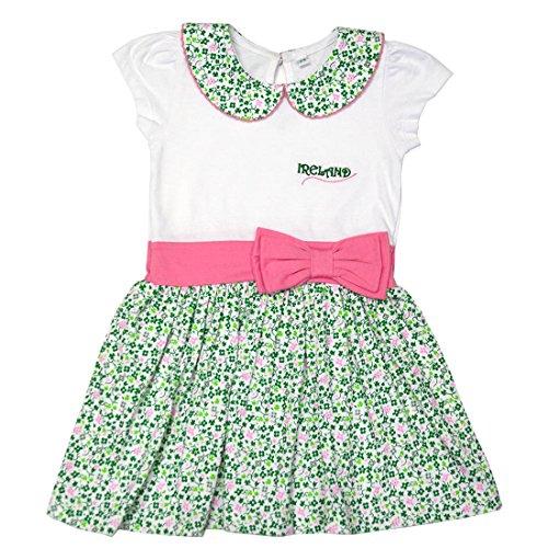 Traditional Craft White Shamrock Pink Bow Ireland Kids Girls Dress (5-6 Years)