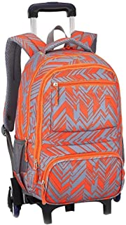 TYUIO Rolling Backpack Luggage School Travel Book Laptop Multifunction Wheeled Backpack for Kids and Students (Color : Orange, Size : Two rounds)