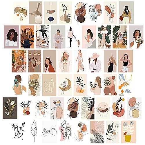 50 stks Esthetische Foto Muur Collage Kit 4×6 inch Beige Muur Art Prints voor Meisjes Kamer VSCO Posters Dorm Foto…