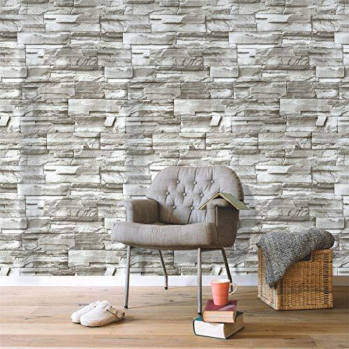 Steintapete 3D Tapete selbstklebend Ziegelstein Wandtapete Vliestapete Industrial Wandaufkleber Wandpaneele Stein Mauer Klebefolie für Wohnzimmer, Schlafzimmer Flur 0.45 * 6M