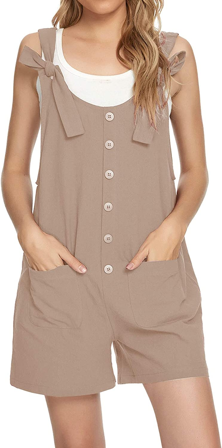 MINTLIMIT Women's Button Limited price Down Solid with Super intense SALE Shorts Pinafore Overall