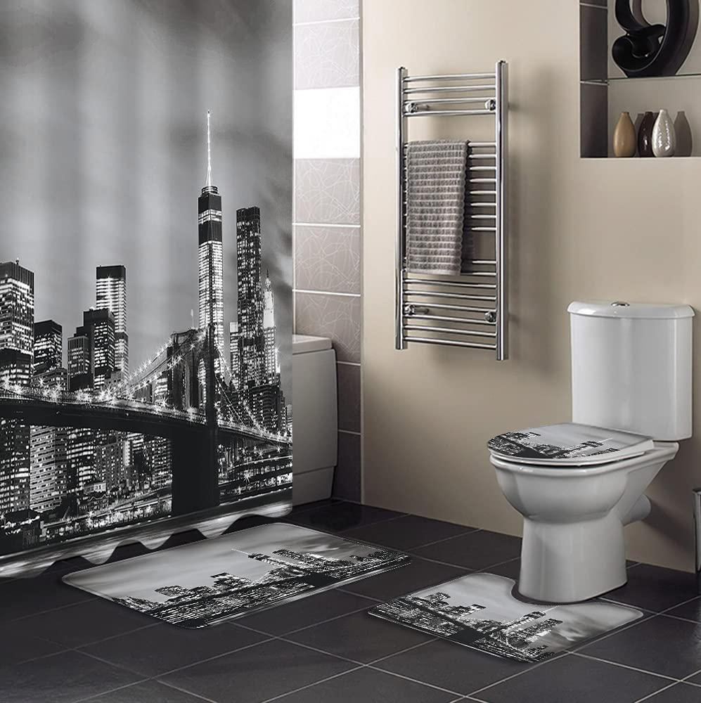 4Pcs Shower Curtain Sets with Non-Slip Toilet Bath 4 years warranty Cove New Shipping Free Lid Rugs