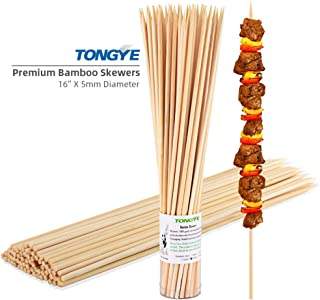 TONGYE 16 Inch Barbecue Skewers with Thick Sturdy Natural Bamboo Pointed Sticks Grilling Utensils for BBQ, Shish Kabob, Appetizer, Marshmallow, Fruit, Vegetable (Φ=5mm, Pack of 50 PCS)