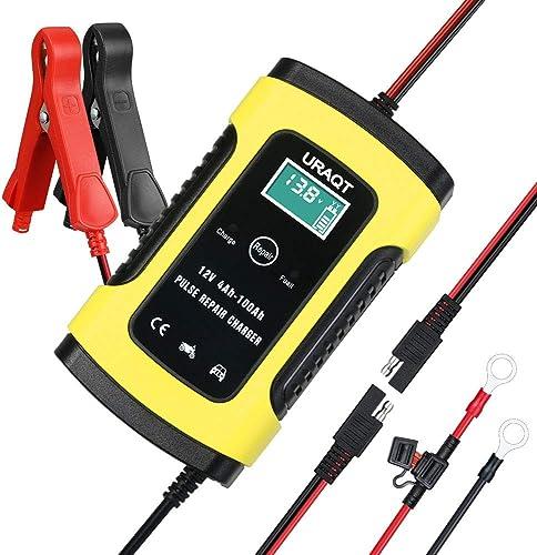 URAQT Chargeur de Batterie pour Auto 6A 12V, Chargeur de Batterie Voiture Intelligent Portable avec Écran LCD Fonctio...