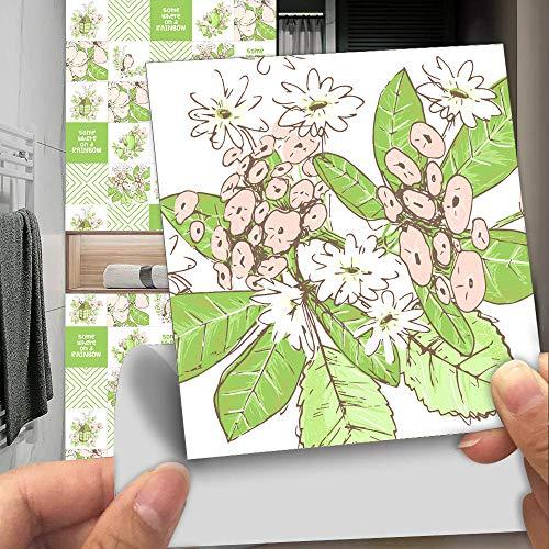 Azulejos Adhesivos Baño Cocina Hoja Verde 10 Vinilos Cocina Azulejos Vinilos Para Baños Losetas Vinilo para Paredes Suelo Vinilo Autoadhesivo para Cocina