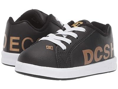 DC Kids Court Graffik Elastic SE (Toddler) (Black/Gold) Boys Shoes