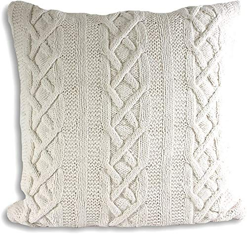 Paoletti Aran Cushion Cover, Cotton, Cream, 55 x 55cm (22' x 22')