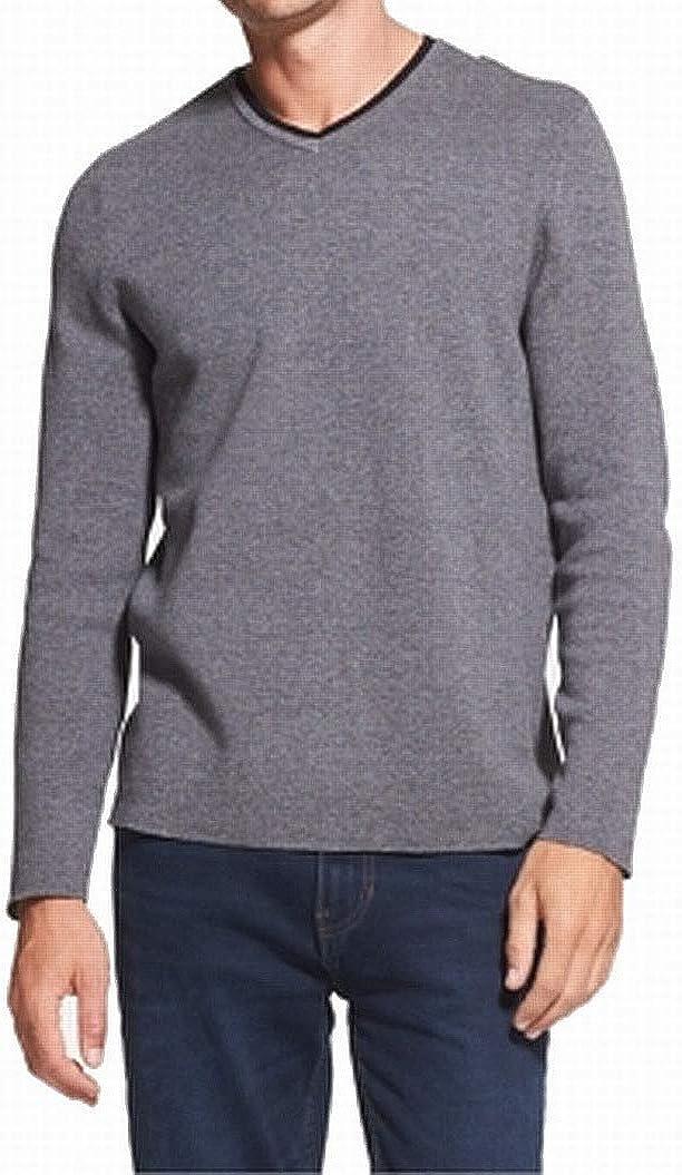 DKNY Mens V-Neck Pullover Sweater, Grey, XX-Large