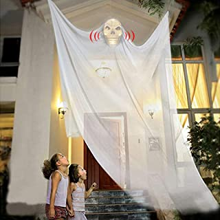 JHION Halloween Hanging Ghost Decorations, Scary Hanging Grim Reaper Motion Voice Activated with Creepy Sound & Glowing Ma...