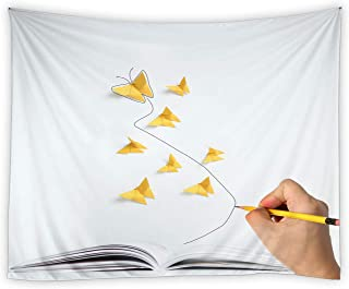 RAYLONZE Creative Butterfly Tapestry Origami Butterflies Wall Hanging Yellow Butterfly Book Modern Home Decor for Living Room Bedroom Polyester Fabric Tapestries 60x51 Inch