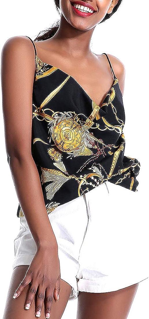 Womens Printed Camis Top Backless Sleeveless Blouses Tank Shirts