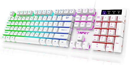 NPET K10 Gaming Keyboard USB Wired Floating Keyboard, Quiet Ergonomic Water-Resistant Mechanical Feeling Keyboard, Ultra-S...