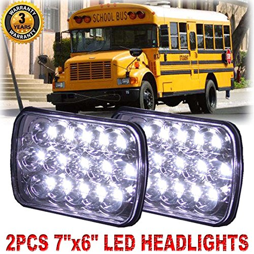 7X6 Inches Rectangle LED Headlights for International Harvester 3800 / School Bus Blue Bird, Super Bright 6000K White High/Low Sealed Beam Conversion Replacement Kit (Package of 2)