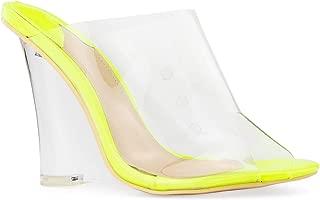 RF ROOM OF FASHION Open Toe Transparent Band Slide On Platform Wedge Sandals