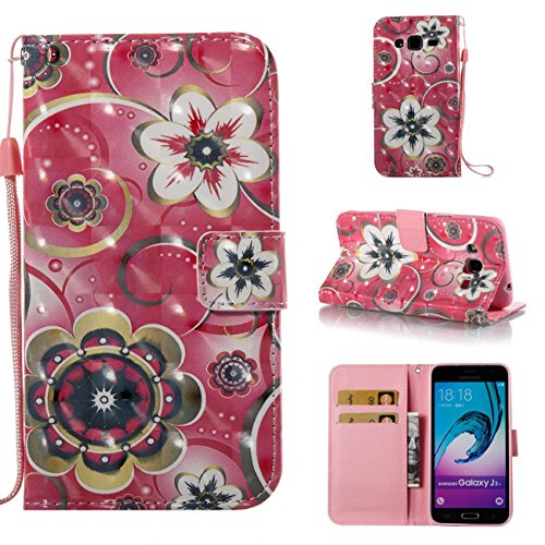 Galaxy J3 2016/J3/J310 Case,Lightweight PU Leather Wallet Case Kickstand Book Cover with Credit Card Slot Xmas Birthday Gift for Daughter Sun Girlfriend for Samsung Galaxy J3 2016/J3/J310-Flowers