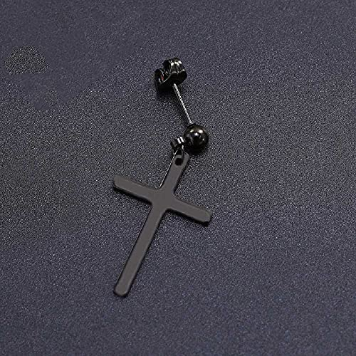 N\C Pendientes De Cruz Colgantes De Acero Inoxidable De Moda Personalizada De Acero De Titanio Pendientes De Estilo Coreano Negro