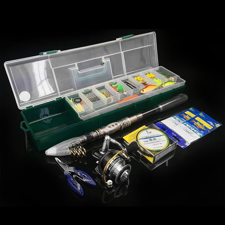 Telescopic Fishing Rod 5.2 1 Gear Ratio Fishing Reel with Bait 104pcs Fishing Tool Portable Kit for Sea Saltwater Freshwater Fishing