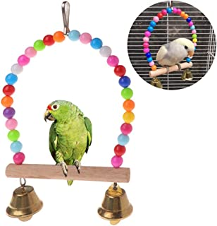 KAN-X Natural Wooden Parrots Swing Toy Birds Perch Hanging Swings Cage with, Bird Cage Swing - Parrot Wooden, Parrot Wooden Perches, Bird Cage Toys, Natural Perch, Birds Toys, Birds Swings