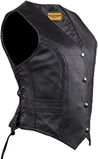 Women Long Cut Black Leather Motorcycle Vest with Braid on Front and Back