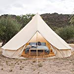 Outdoor Canvas Bell Tent, 3M-6M Fire Retardant Canvas Tent, 4 Season Luxury Large Canvas Glamping Tent Yurt for Camping…