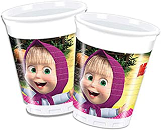 Procos 86513Set of 8Multi-Coloured Masha and Bear Plastic Cups, 200 ml