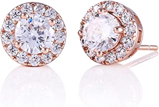 Best Halo Stud Opal Earrings Rose Gold Plated Round CZ Cubic Zirconia Reviews