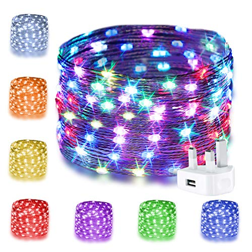 16 Colours Fairy Lights USB Plug, 33ft 100 Micro LEDs Multicolour String Lights with Remote Control Timer Silver Wire Festoon Lights for Christmas Tree, Party, Wedding, Girl's Bedroom Outdoor Decor