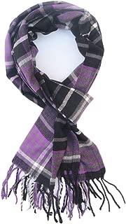 Saferin Men Winter Plaid Soft Elegant Cashmere Feel Wrap Scarf Grey Plaid