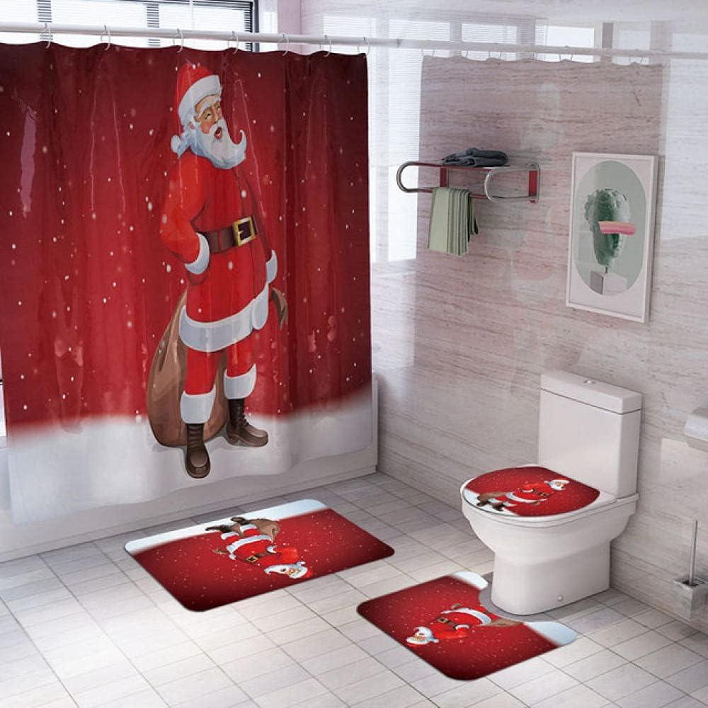 Bathroom Max 42% OFF Elegant Set Snowman Santa Claus Shower Elk Pattern C Waterproof