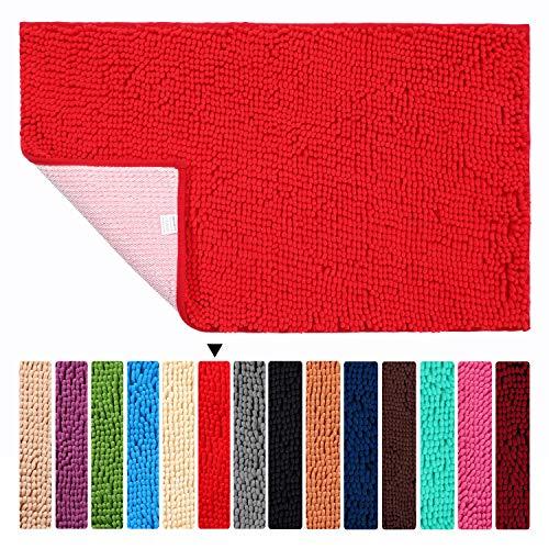 ORANIFUL Alfombras de Baño Antideslizante de 45 x 60 cm Tapete para el Piso Lavable a Máquina con Microfibra de Chenilla Absorbente de Agua(Rojo)