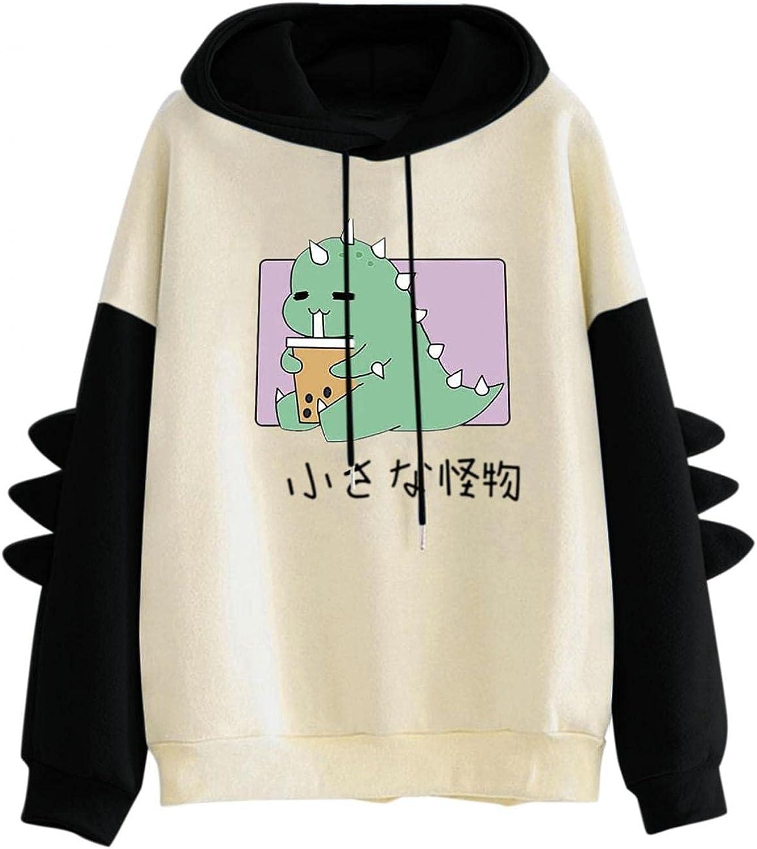 Trendy Dinosaur Hoodie Boys Girls - Color Block Long Sleeve Hooded with Drawstring Casual Sweatshirt Pullover for Teens