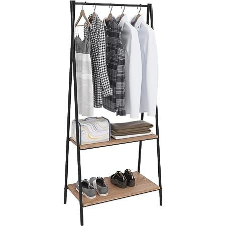 WOLTU SR0066 Porte-manteau avec étagère à Chaussures en métal et bois