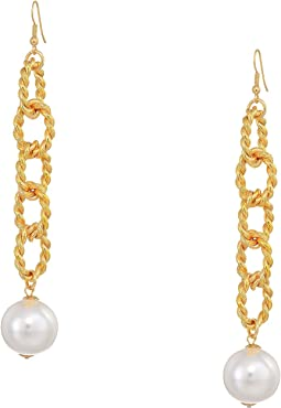 "5"" Gold Braided Links with Pearl Ball Drop Fishhook Earrings"