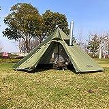 Carpas al aire libre Carpa tipi Impermeable Cuatro estaciones piramidal familiar Camping Mochilero Senderismo Montañismo Refugio climatizado Chimenea ahumada Fácil instalación 1-3 personas (Verde)
