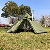 Outdoor Tents Teepee Tent Waterproof Four Seasons Family Pyramid Tent Camping Backpacking Hiking Mountaineering Heated Shelter Smokey Chimney Easy Set Up for 1-3 People