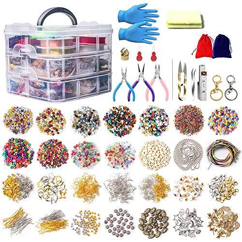 Kit de suministros para hacer joyas, 6971 piezas de chips de cristal irregulares, cuentas de piedras preciosas con alicates, tijeras, anillos de salto, cuerda elástica para hacer pulseras y pendientes
