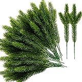 60 paquetes de agujas de pino artificiales, ramas de 17 x 5 cm, plantas verdes, agujas de pino, púas de pino verde falsas, para decoración de Navidad y jardín