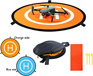 Unigift Double Sided Drone Landing Pad,Blue and Orange Collapsible Waterproof Landing Pads Apron for DJI Mavic Pro/Mavic Air/Spark Remote Control Helicopters Accessories(55cm/21.6 inches)