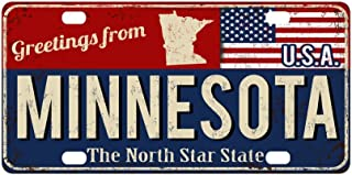 InterestPrint Greetings from Minnesota State Vintage Rusty Metal Sign Metal License Plate Tag Sign Decor for Car Woman Man - 12