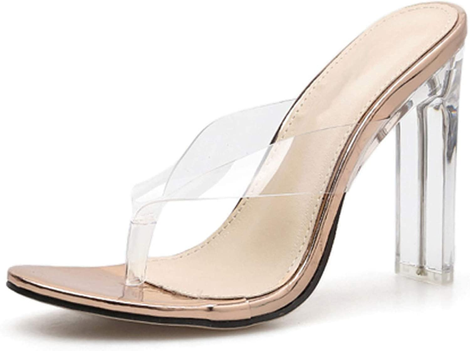IOJHOIJOIJOIJMO 2019 PVC Jelly Champagne Silver Crystal Sexytransparent Heel Sandals Flip Flops Pumps