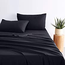 1000TC Ultra Soft Sheet Set - by Wake In Cloud, 100% Soft Microfiber, Fitted Sheet & Flat Sheet & 2 Pillowcases (Black, Ki...