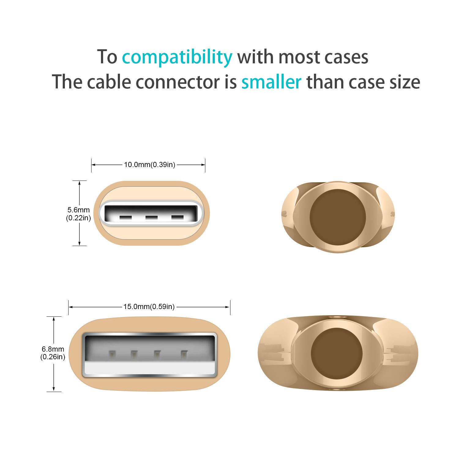 Note 9 8 Seamless USBC End Tip AGVEE 3A Fast USB-C Charging Cable A10e 4 Pack 3ft Braided Type-C Charger Phone Cord for Samsung Galaxy S10 S10e S9 S8 G7 G8 V20 V30 ThinQ Gold LG Stylo 4 5