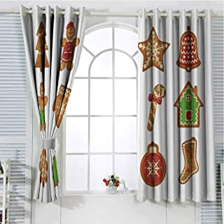Grommet Window Curtain Curtains for Bedroom Gingerbread Man,Various Biscuits in Different Shapes Delicious Bakery Goodies,Light Brown Green Red Drapes Panels 96 x 72 inch